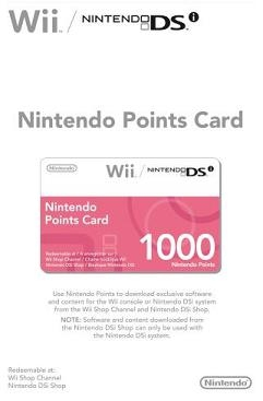 Wii, Nintendo Points Card 1000